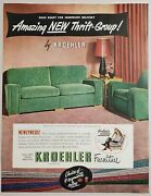 1949 Print Ad Kroehler Furniture Sofa And Chair In Living Room Thrift Group