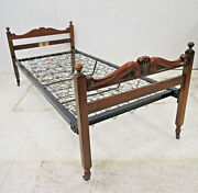 Antique English Staples And Co. Ltd. Mahogany Twin Bed With Crown Carving
