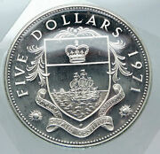 1971 Bahamas Huge Large Pirate Defeat Motto Proof Silver 5 Dollars Coin I85616