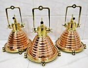 Nautical Vintage Style Cargo Pendent Spot Copper And Brass Ceiling New Light 3 Pcs