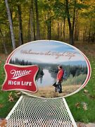 2009 Miller High Life Embossed Tin Sign With Hiker And Dog