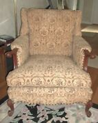 Antique Vintage Upholstered Wingback Chair Wood Scrolled Arms Brass Tacks Gc