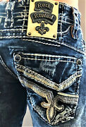 New Mens Rock Revival Cael Straight Denim Jeans Size 28 29 30 31 40 Reg And Long