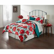 Brylanehome Poinsettia Holiday 5 Piece Comforter Set