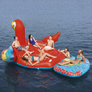 Gaint Parrot Island Inflatabl Pool Floating For 6-8 Person Swimming Water Island