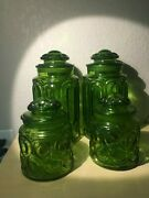 Vintage Smith Glass Moon And Stars Pattern Glass Cookie Jars