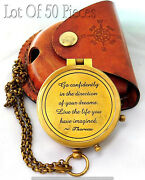 Thoreauand039s Go Confidently Quote Engraved Brass Compass W Leather Case Boys Gift