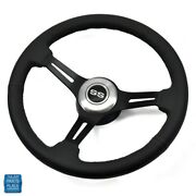 1967-1968 Chevy Black Leather And Black Anodized Steering Wheel Ss Center Cap Kit