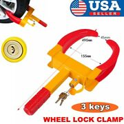 Wheel Lock Clamp Boot Tire Claw Car Suv Rv Trailer Anti-theft Towing With Key Us