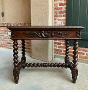 Antique French Carved Oak Sofa Table Writing Desk Barley Twist Louis Xiv Style