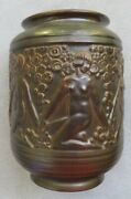 Large Weller Art Deco Vase Brown Glaze With Repeating Nudes