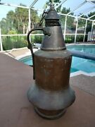 Antique C.1700s Copper Jug With Lid 18 Tall American 18th Century Primitive