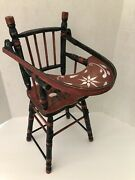 Vintage Wooden Baby Doll High Chair W/tray