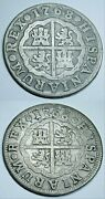 Lot Of 2 1768 Overdate Mint Error Spanish Silver 2 Reales 1700's Two Bits Coins