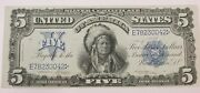 Fr275 Note 1899 5 Chief Silver Certificate Napier/mcclung Au Bright Color 042