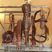 Driving Harness For Single Horse Hand Carving-leather Brown Antique Finish