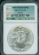 1986 American Silver Eagle Ase S1 Ngc Ms69 Special First Year Tag