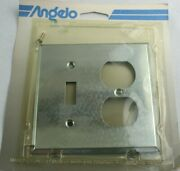 Vintage 1988 Angelo Chrome Toggle And Double Outlet Wall Plate 74858 Free Ship