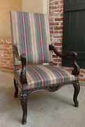 Antique French Carved Walnut Arm Chair Fireside Library Louis Xv Style