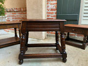 Large Antique English Tiger Oak Stool Bench End Table Jacobean Joint Style
