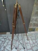 Wooden Antique Royal Nautical Tripod Floor Lamp Stand Shade Tripod Gift/decore