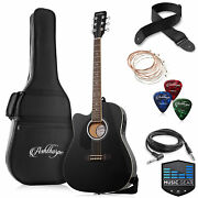 Full-size Left-handed Cutaway Thinline Acoustic-electric Guitar W/ Gig Bag And Eq