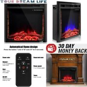 Electric Fireplace Heater Insert Embedded Stand Wall Mount With Remote Control