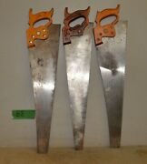 3 Nice Disston Hand Saws D8 And D23 Rip Finish Cross Cut Collectible Tool Lot B8