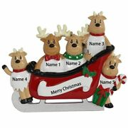 Resin Reindeer Family Sled Family Of 4 Christmas Ornaments Personalized Gifts