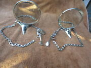 A Pair Of 4 1/2 Inch Side Mount Mirrors With Chains And Locks.