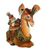 Magnificent Santa Hand Carved And Painted Riding Okapi New Model