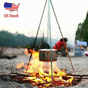 Folding Outdoor Campfire Cooking Tripod Grill Grate Stand Camping Fire Pit Tool