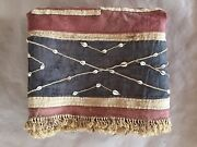 Very Long African Ceremonial Raffia Cowrie Embroidered Skirt Kuba Textile Congo