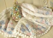 Antique Farmhouse Quilt And Chenille Crochet Lace Heirloom Christmas Tree Skirt