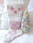 Shabby Vintage Chic Lavish Lace Pink Quilt And Pearls Chenille Christmas Stocking