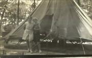 Medford Nj Or Pipersville Pa Camp Ockanickon Typed On Back Women And Tent Rppc