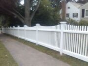 4x8 Pvc Vinyl Louisville Victorian Picket Scallop Top Fence Panel W/posts And Caps