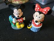 Mickey And Minnie Mouse Plastic Coin Banks Disney Vintage Excellent Condition