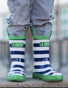 Loop Handle Rubber Rain Boots 7t Blue And White Stripe With Green Trim Boys