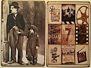 Two 8x12 Tin Signs Charlie Chaplin Jackie Coogan The Kid Movie Films Drive In