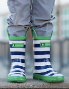 Loop Handle Rubber Rain Boots, 11t Blue And White Stripe With Green Trim Unisex