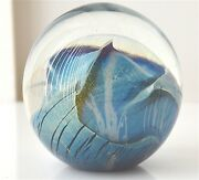 1992 Robert Eickholt Mini Paperweight Signed 1.25 Planet In Iridescent Bubble