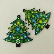 Set Of 2 Green Christmas Tree Ornaments On Wood In Shape Of A Tree