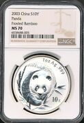 2003 China Panda 10 Yuan Ngc Ms 70 1 Ounce Silver Coin Frosted Bamboo