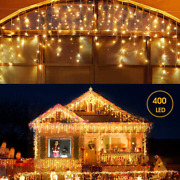 Led Icicle Lights Outdoor Christmas Decorations Lights 400led 8 Modes Icicle Chr