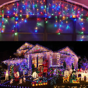 Kiflytooin Led Icicle Lights Outdoor Christmas Decorations Lights 400led 8 Modes