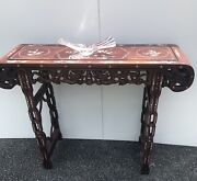 1940s Vintage Andldquochinese Wooden Altarandrdquo Table W/ Pearl Inlay