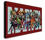 Marvel Super Heroes Wall Art Printed On Wrapped Canvas, Framed, Ready To Hang