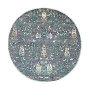 6'x6' Round Folk Art Willow And Cypress Tree Design Hand Knotted Rug R55911