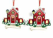 2pc Set First Home New Red Brick W Lights And Wreath Christmas Ornament